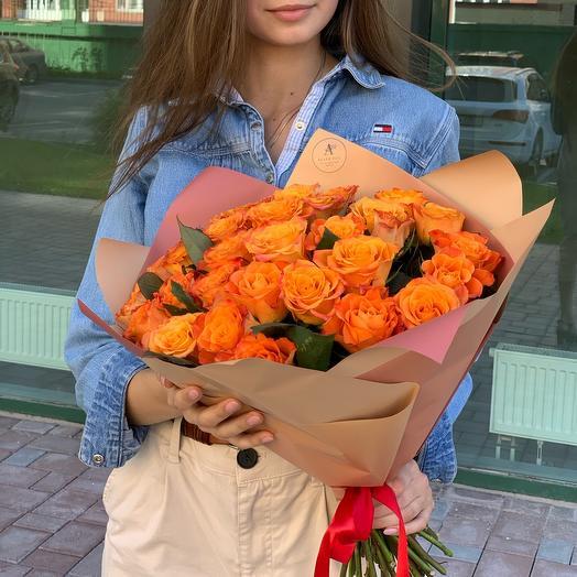 Букет из 31 оранжевой розы