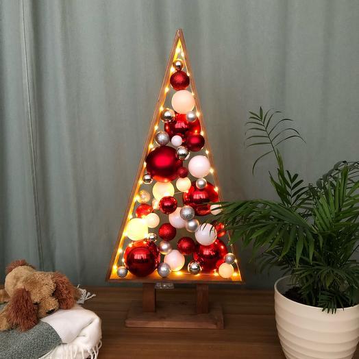 Новогодняя Ёлка 🎄 красная серебристая белая темный дуб