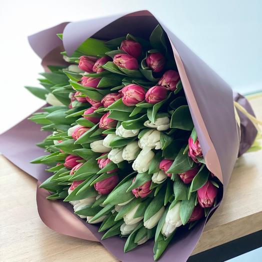 Бело-розовые тюльпаны 95 шт 💜💜💜
