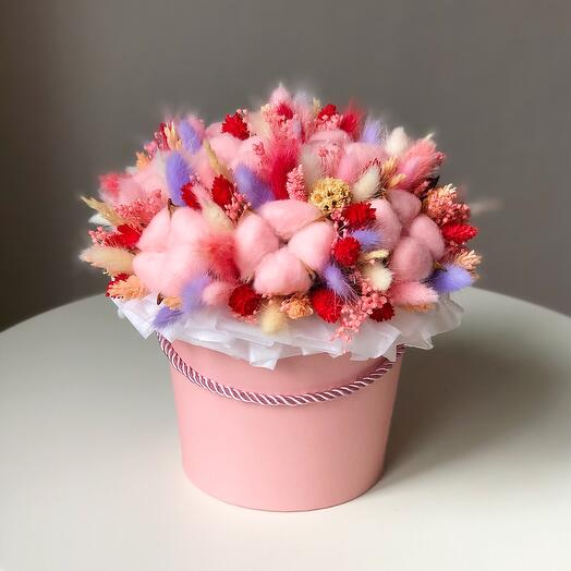 Коробка с сухоцветами Pink