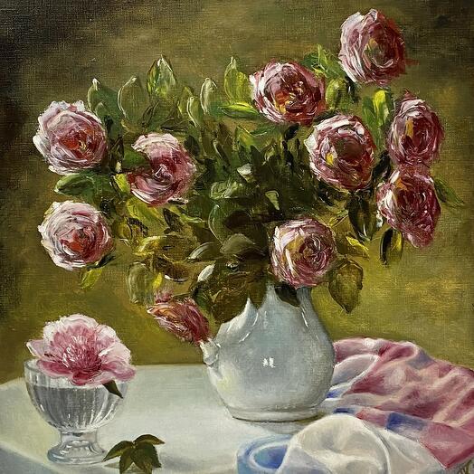 """Картина """"Пионы и роза в кувшине"""" 50*50 см. масло, холст"""