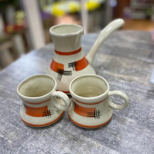 """Кофейный набор """"Абстракция"""", 3 предмета: турка 0.75 л, чашки 0.25 л"""