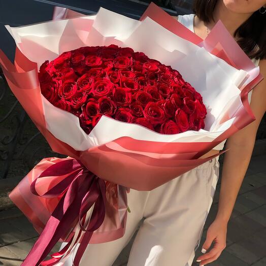 101 Роза Россия 50см