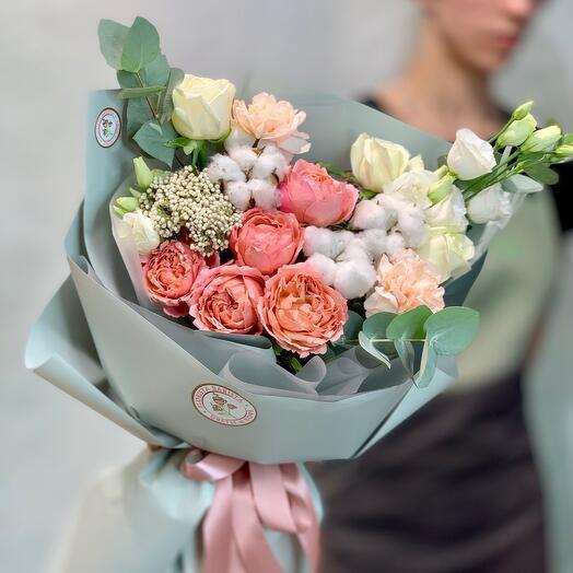 ✅Букет с пионовидными розами и хлопком «Нежность хлопка»