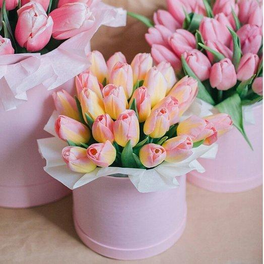 Шляпная коробка- мини с тюльпанами