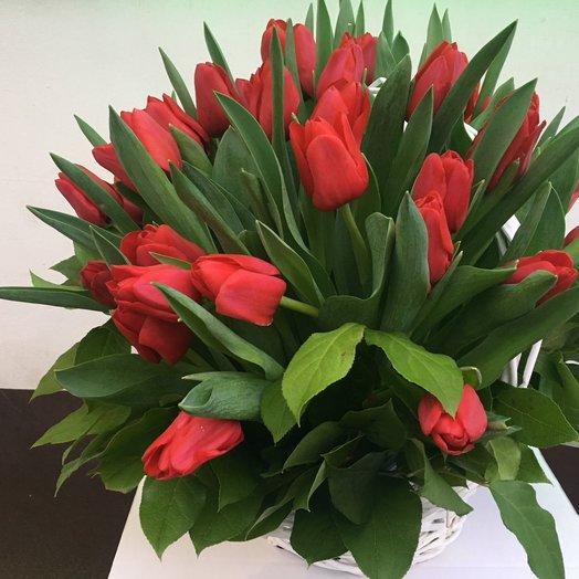 Корзина с 50 тюльпанами: букеты цветов на заказ Flowwow
