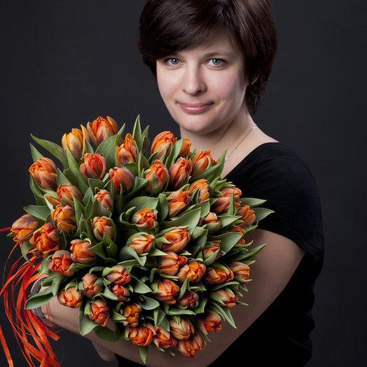 45 Тюльпанов Орандж : букеты цветов на заказ Flowwow