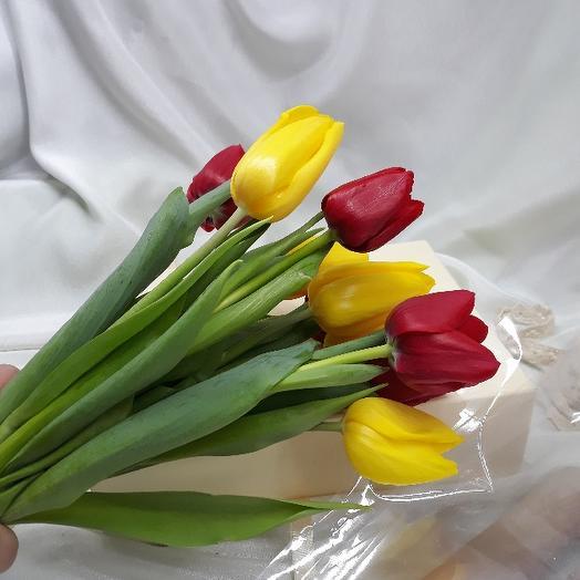 Букет из 9 разноцветных тюльпанов: букеты цветов на заказ Flowwow