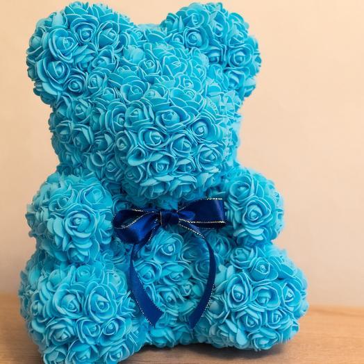 Голубой мишка из роз: букеты цветов на заказ Flowwow