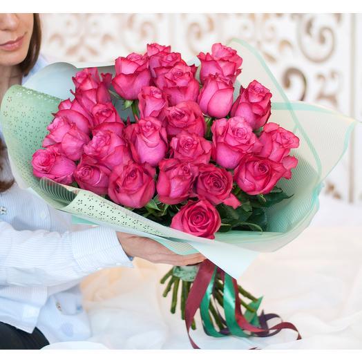 Букет из 25 розовых роз премиум: букеты цветов на заказ Flowwow