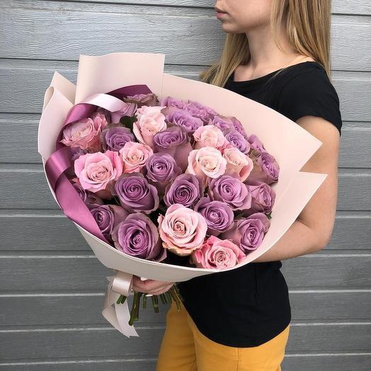 """Букет из роз """"Черничный зефир"""""""
