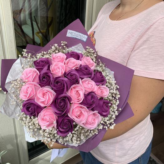 Букет из мыльных роз: букеты цветов на заказ Flowwow