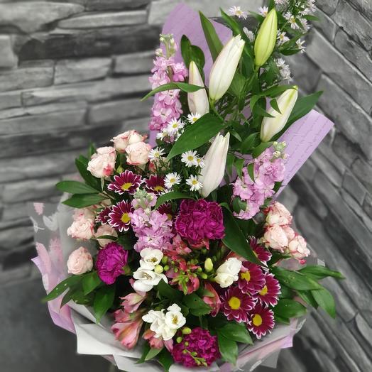 """Ароматный букет с лилией и матиоллой """"Восторг"""": букеты цветов на заказ Flowwow"""