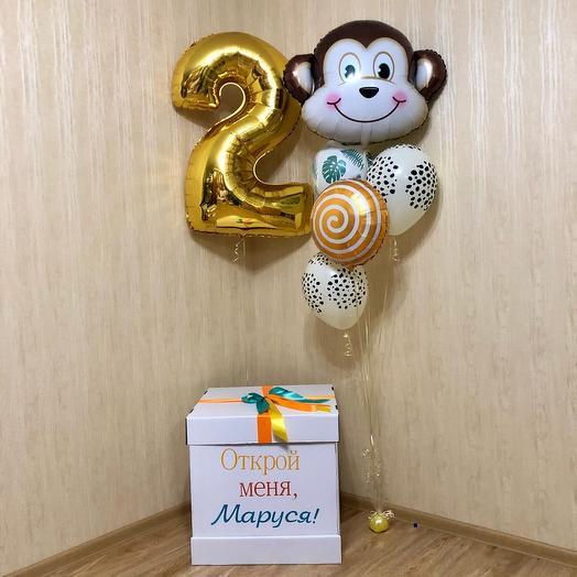 Воздушные шары в коробке. Шар обезьяна
