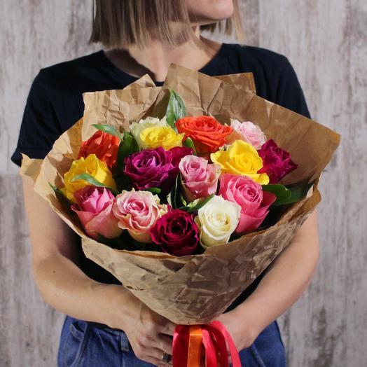 АКЦИЯ! 15 разноцветных роз в крафте
