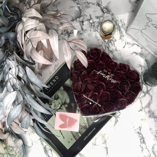 """Мыльные розы в изящной коробке """"Сердце"""""""
