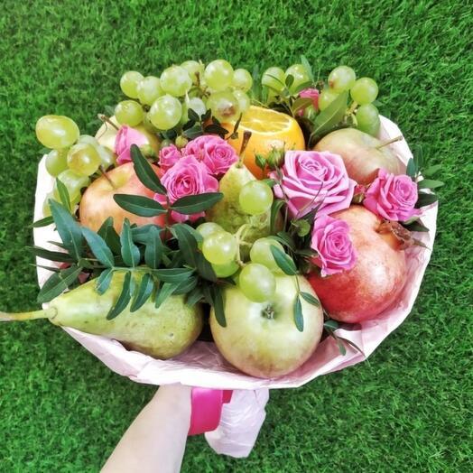 🍏Фруктовый микс с розами 
