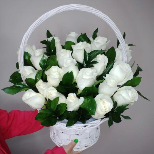 Basket with 21 roses
