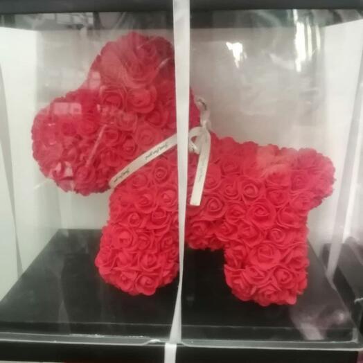 Собачка из роз 35 см
