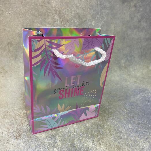 Пакет подарочный голографический Let your light shine, 12 × 15 × 5,5 см