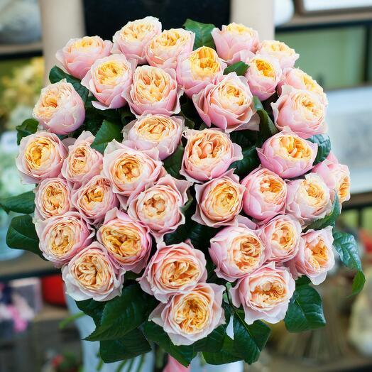 Букет из пионовидныз роз Вувузелла
