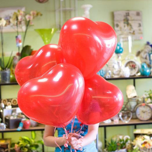 Латексные шары Сердечки (5 шт): букеты цветов на заказ Flowwow