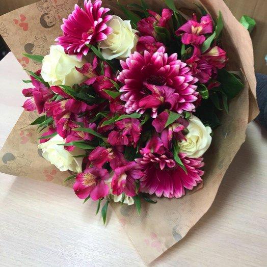 50 оттенков фиолетового: роза, альстромерия, гербера: букеты цветов на заказ Flowwow