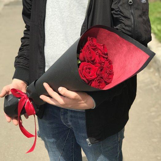 Букет из 9 красных роз (50см) N128: букеты цветов на заказ Flowwow