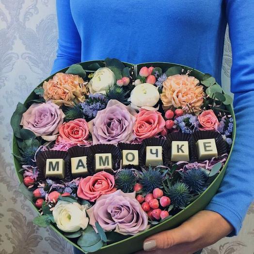 цветы с конфетами Мамочке