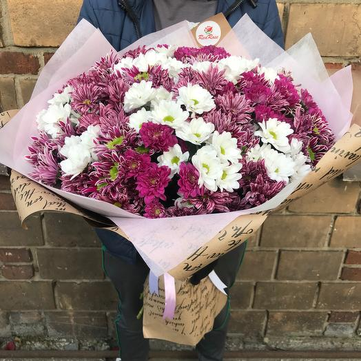 Букет из 35 веточек хризантем микс: букеты цветов на заказ Flowwow