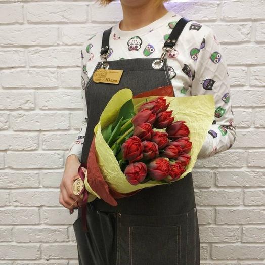 Яркий букет пионовидных тюльпанов 15 шт: букеты цветов на заказ Flowwow