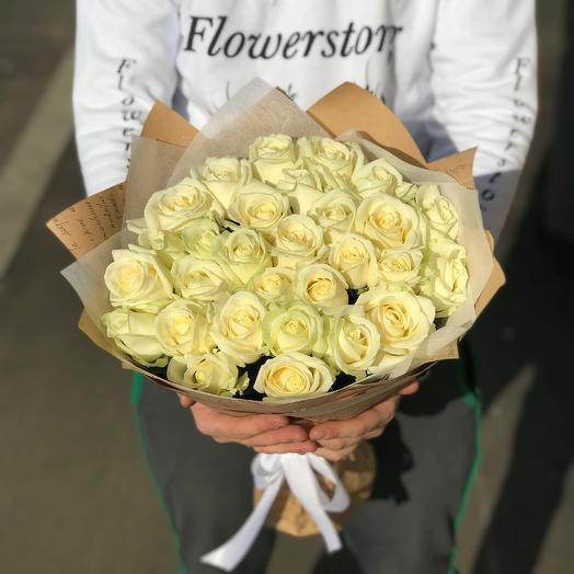 Розы. Букет из 29 белых роз.  50 см. N295: букеты цветов на заказ Flowwow
