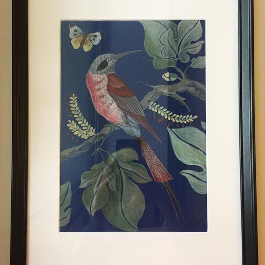 Птица на ветке (триптих): букеты цветов на заказ Flowwow
