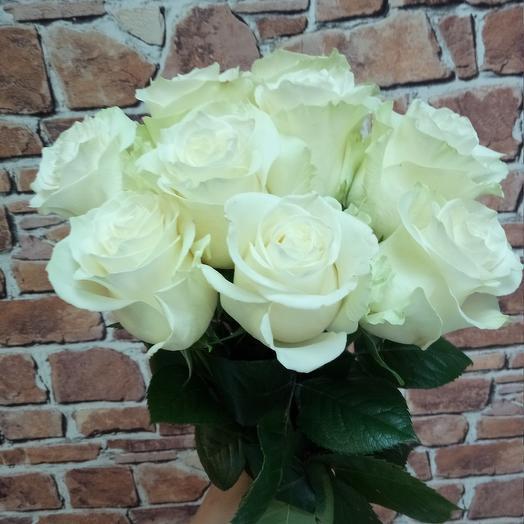 Белые розы, 9 шт: букеты цветов на заказ Flowwow