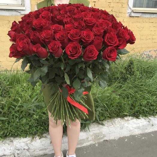 Букет из 101 розы 70 см: букеты цветов на заказ Flowwow