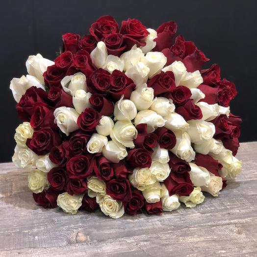 101 роза премиум микс 60 см