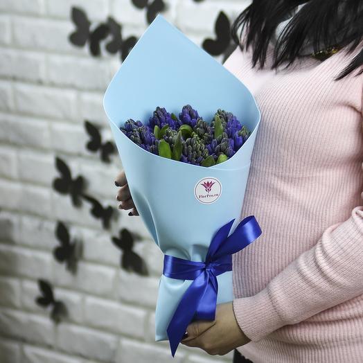 11 синих гиацинтов в упаковке: букеты цветов на заказ Flowwow