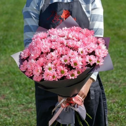 Монобукет из розовых ромашек