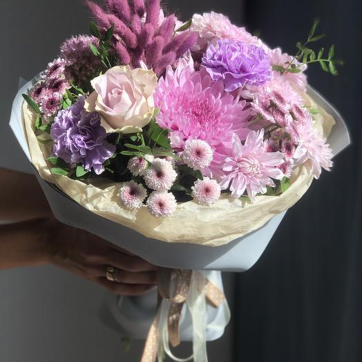 Букет с хризантемой Сиреневый восторг