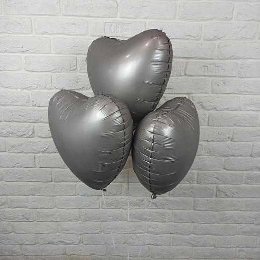 """Набор шаров """"3 Сердца"""" Серые"""