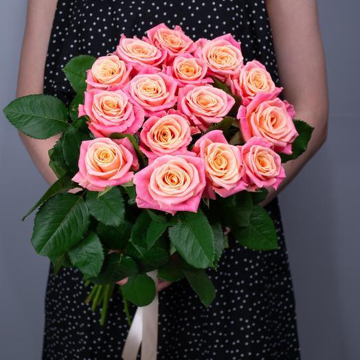 """Букет из 15 роз """"Miss Piggy"""""""