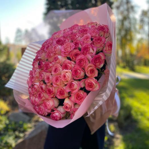 Букет нежно-розовых роз (101 шт)