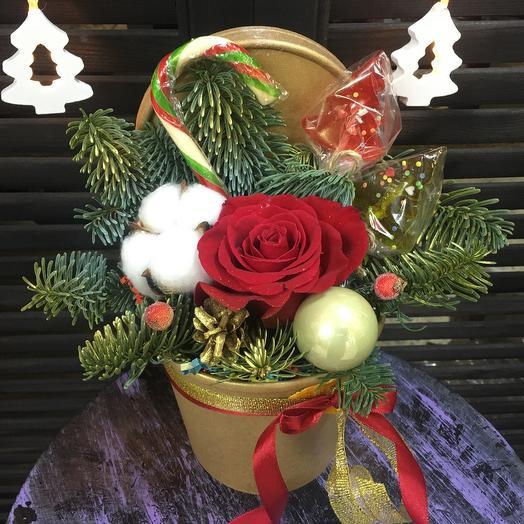 Букет новогодний со сладостями