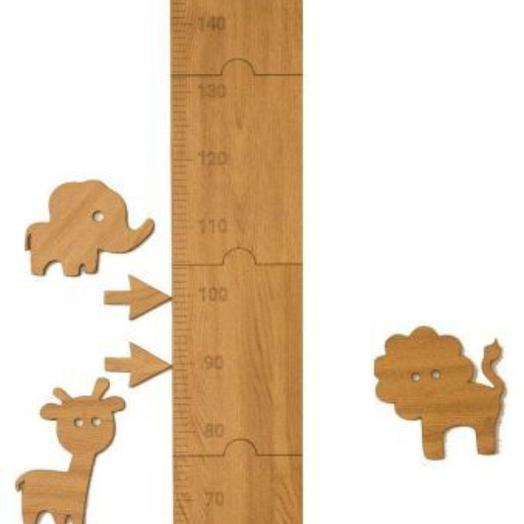 """Наклейка на стену ростомер детский """"Линейка Африка"""" 50-160 см (Дуб)"""