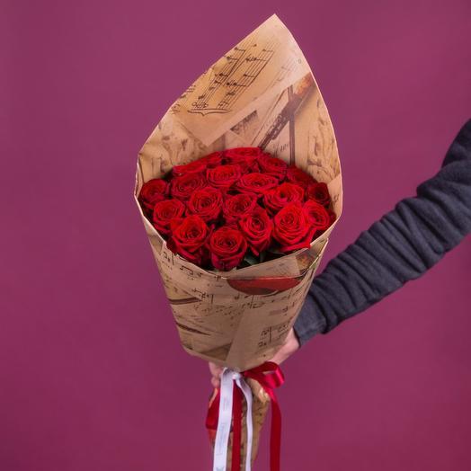 Букет из 19 красных роз 60 см