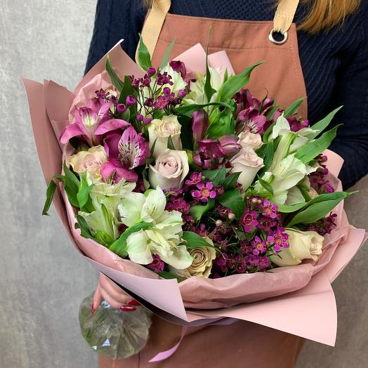 Author's bouquet with alstroemeria and rose