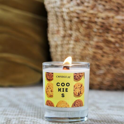 Свеча ароматическая COOKIES/ Печенье - с деревянным фитилем, CANDLE ME