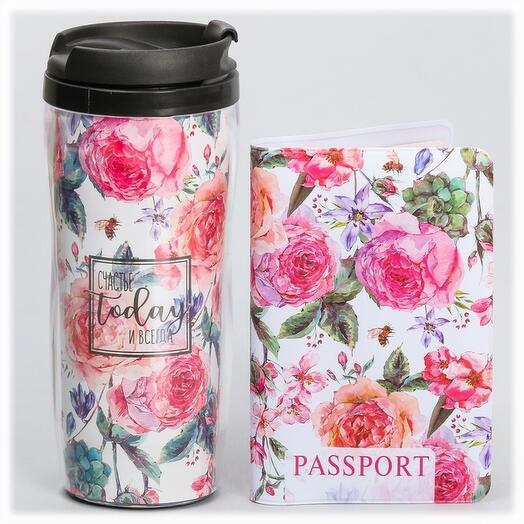 """Набор """"Запах лета"""" подарочный (обложка на паспорт + термостакан)"""