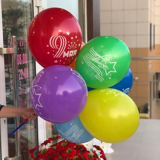 Связка шаров на палочках «День победы»