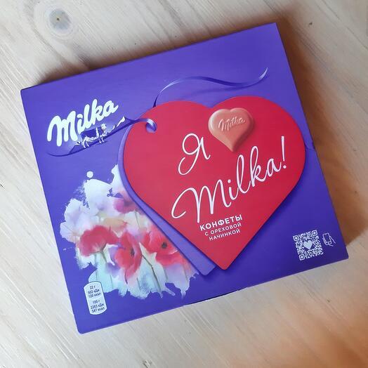 Конфеты сердечки milka